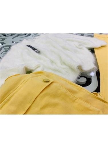 Hilal Akıncı Kids Kiz Çocuk Yarasa Kol Trıko Kazak Renklı Sirt Çantasi Kot Pantolon Üçlü Takim Sarı